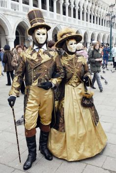Handsomely costumed Venetian couple at Carnevale