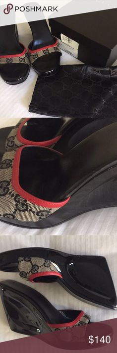 GUCCI Black GG Logo wedge sandals with leather trim Circa 1999, 3 inch medium width, good condition original box and dust bag included, please ask before buying, give me a reasonable offer Gucci Shoes Wedges