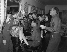 Betty Hutton and other starlets entertain troops at the Hollywood Canteen. April 12, 1945, L.A. Times
