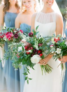 Fresh greenery bouquets with berry florals: http://www.stylemepretty.com/2015/04/28/red-french-blue-al-fresco-estate-wedding/ | Photography: Justin DeMutiis - http://justindemutiisphotography.com/