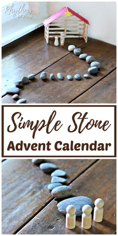 Countdown to Christmas with this easy DIY advent calendar! This rustic homemade advent calendar with nativity scene uses stones or rocks as an easy Christmas countdown. Homemade Advent Calendars, Diy Advent Calendar, All Things Christmas, Kids Christmas, Christmas Tables, Nordic Christmas, Modern Christmas, Christmas Nativity, Christmas Stockings