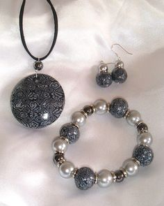 A set of polymer clay jewellery