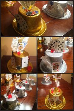 Guest Tables- Casino night- center pieces, using the hats Aunt Lori bought