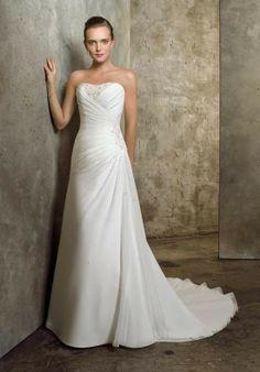Douce Strapless Chiffon Satin Beads Working Beach Wedding Gowns - Beach Wedding Dresses - Wedding Dresses