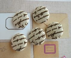 Handmade Fabric Buttons  Retro Brown Cream Old Script by RetroNaNa, $5.00