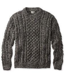 Heritage Sweater, Irish Fisherman's Crewneck XXL Jet Black Donegal