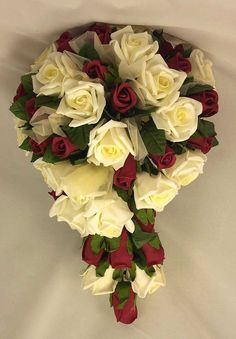 Burgundy and ivory rose bridal shower bouquet (Silk Wedding Designs)