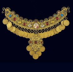 "From the Benaki Museum (Greece): *yordani* (necklace), silver gilt jewelry from Attica, set with multi-coloured glass stones and hung with facsmile coins"". Caption from *Greek Traditional Jewellery* fig. Greek Jewelry, Old Jewelry, Ethnic Jewelry, Antique Jewelry, Jewelery, Benaki Museum, Greece Pictures, Jewelry Organization, Necklace Set"