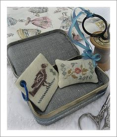 BBD pattern: Small accompaniments to go inside a tin. Stitched for a friend by Angela Sweby.