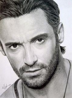 Art: Hugh Jackman - graphite drawing by Juan Moreno Collado