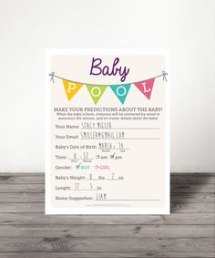 Baby Pool Shower Advice Office Print At Home Twin Instant Bunting