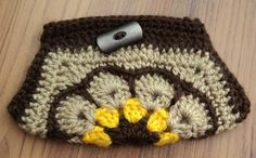 Brown African Flower PURSE with button by IstanbulMystique on Etsy, $12.95 African Flowers, Crochet Purses, Purses And Bags, Beanie, Patterns, Button, Brown, Hats, Block Prints