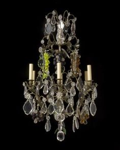 Marvin Alexander, Inc. Louis XV Style bronze, clear and coloured crystal six-light chandelier. France, circa 1870.