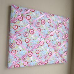 "16""x20"" Memory Board or Bow Holder-Little Azalea, Pink, Green, Blue"