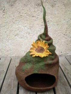 Felted Cat Beds – Works of Art: No more cats in our house, but I'd display these beds anyway!