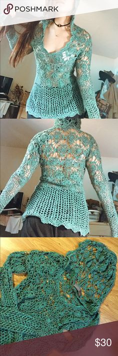 Mermaid turquoise crochet pullover hoodie Comes with hood and bell sleeves! Brand says daytrip. Perfect as a cover up for summer. Size is large but I am a small (5'4, 27 waist) and it fits me nice and shapely :) free people for hippie boho vibes. Free People Swim Coverups