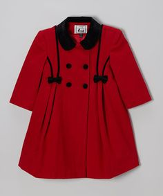 Red Bow Wool-Blend Swing Coat - Toddler & Girls by Trilogi on #zulily