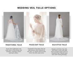 WEDDING VEIL TULLE OPTIONS | ROCK MY WEDDING | WEDDING VEIL | WEDDING ACCESSORIES | BRIDAL VEIL | BRIDE VEIL | VEIL FOR BRIDE | LACE VEIL | CATHEDRAL VEIL | TIERED VEIL | BRIDE DRESS | TWO TIER VEIL | DROP VEIL | FLOOR LENGTH VEIL | SHORT VEIL | LACE EDGE VEIL | SATIN EDGE VEIL Bridal Hair Accessories, Bridal Jewelry, Types Of Veils, Wedding Veils, Wedding Dresses, Veil Length, Indian Bridal, Tulle, Bride