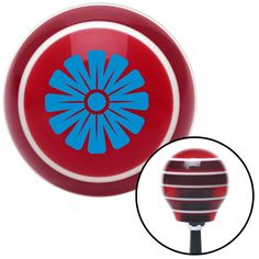 Blue Hawaiian Flower 1 Red Stripe Shift Knob with M16 x 15 Insert