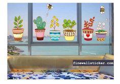 Window Glass Clings And Stickers Flower Wall Stickers, Diy Stickers, Cheap Wall Art, Cool Walls, Colorful Flowers, Flower Pots, Wall Art Decor, Planter Pots, Window Glass