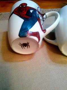 """Handmade by Do : """"Spiderman"""" painted cup/ Cană pictată """"Spiderman"""" Spiderman, Greek Pattern, Ceramic Angels, Painted Cups, Flower Stands, On October 3rd, Coffee Set, Hand Painted Ceramics, Ceramic Mugs"""