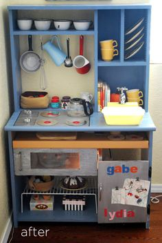Love this! Make your own play kitchen from an old desk. DIY Play kitchen idea.