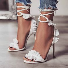Open Toe Lace Up Hig