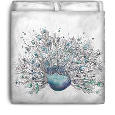 Peacock Bedding Glory Days duvet or comforter by ArtfullyFeathered $120