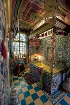 multi layers of ecclectic patterns, morrocan meet persian meets folloy of tiles & fresco