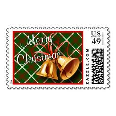 """Unique, trendy, pretty and original December winter season stamp. With image of gold bells, and red ribbon bow on red and green argyle tartan plaid pattern background, """"Merry Christmas"""" text. Send your classic, stylish, funny or warm seasonal wishes mail with matching postage that will put a smile on the faces of young and old when opening their holiday mail."""