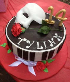 Phantom of Opera Birthday cake - Ganache covered choc cake with gumpaste and fondant embellishments