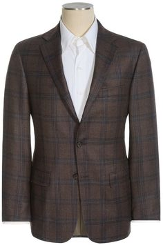 Kiton Napoli Brown Windowpane Wool Linen Jacket Sports