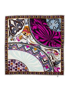 Multicolor Emilio Pucci silk scarf with print throughout and rolled edges.