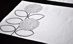 Modern Sunflower Embroidered Placemat  Cream Linen by KainKain, $32.00