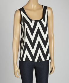 Take a look at this Black & White Zigzag Tank by MOA Collection on #zulily today!
