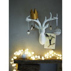 Make a feature of any wall with our majestic resin deer head. With impressive detailing, elegant antlers and finished in matt white, our lightweight deer head will suit any interior and looks brilliant at Christmas adorned with baubles or tangled in our Naked WireLights.
