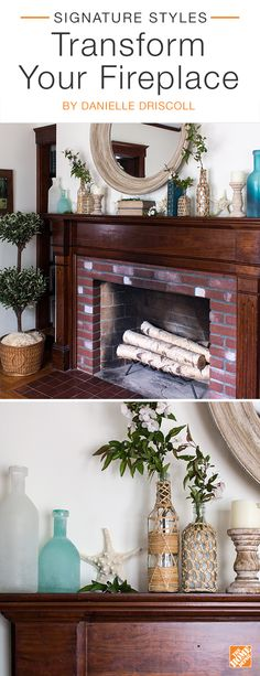 Eclectic decor will transform your fireplace and give it a touch of old-world charm. Mixing decorative bottles creates visual interest and using them as vases will liven up the space. A round, rustic mirror above the mantel will not only reflect light, making the space seem bigger and brighter, but will also add to the bohemian look. We partnered with blogger Danielle Driscoll to achieve this bohemian look. Click to explore her selected products.
