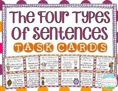 Four Types of Sentences Task Cards! Engage your students in practicing their 4 types of sentences with this set of 32 high-interest, eye-catching task cards! Each card includes a sentence, and students must determine if it is interrogative, declarative, imperative, or exclamatory.  $