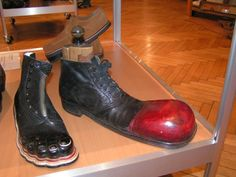 fig.: The Wiener Schuhmuseum shows fantastic shoe creations such as toe and clown boots alongside to items from the history of footwear making from daily fashion to orthopedic shoes, machines and manufacturing tools. Photo provided in mid-September 2013 by the Wiener Schuhmuseum at the Florianigasse 66 at the 'Josefstadt'-district in Vienna.