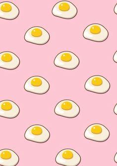 food cute kawaii iphone background aesthetic pastel backgrounds patterns breakfast eggs weheartit huawei pretty