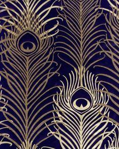 John lewis osborne & and little matthew williamson peacock feather wallpaper Peacock Wallpaper, Navy Wallpaper, Metallic Wallpaper, Print Wallpaper, Art Deco Wallpaper Uk, Wallpaper In Bedroom, Blue And Gold Wallpaper, Navy Gold Bedroom, Mugs