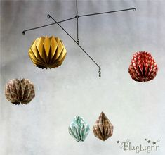 mobile fil de fer et origami