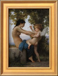 A Young Girl Defending Herself Against Eros, 1880 Giclee Print by William-Adolphe Bouguereau at Art.com