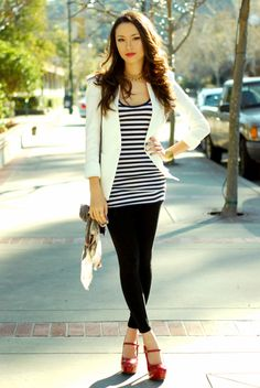 hapa time nautical (New jacket, c/o Queens Wardrobe, top - sisters, leggings - Forever 21, shoes - Charlotte Russe, ring - Aldo, bag - Aldo, nails OPI DS Magic, necklace - Mom, cuff - Mom) #stripes