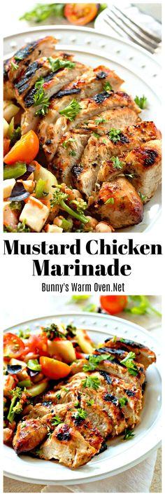 Mustard Chicken Marinade, another fantastic way to make tender delicious chicken! Mustard Marinade For Chicken, Mustard Chicken, Turkey Recipes, Chicken Recipes, Baked Chicken, Cooking Recipes, Healthy Recipes, Grilled Recipes, Healthy Meals