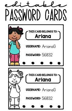 Computer Login Cards - Education - Editable password cards for computer login - First Grade Classroom, Future Classroom, School Classroom, School Teacher, Classroom Ideas, Beginning Of School, New School Year, First Day Of School, Classroom Organization