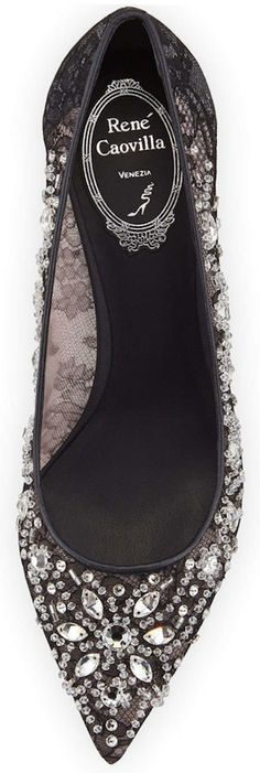 Rene Caovilla  Crystal-Embellished Lace Pump