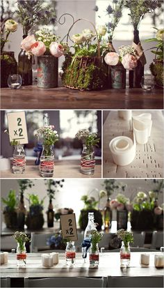 table decor INSPIRATION!  Blended family...different ways to add the three of them up into one beautiful family.  1 love at first sight + 2 children + 1 special woman + 1 blessing from dad= a family ...or something like that at each table.  It'd give peeks into their engagement/dating/lives...