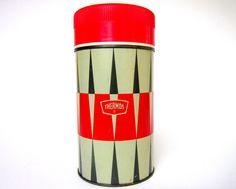 Vintage Thermos Black Gray & Red Harlequin by CedarRunVintage