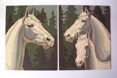Pair of Vintage Horse Paint by Numbers.